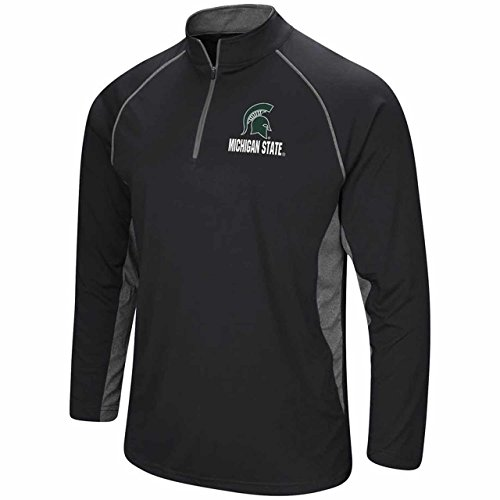 Colosseum Michigan State Spartans Adult NCAA 1/4 Zip Windshirt - Black, X-Large (Windshirt Mens Official)