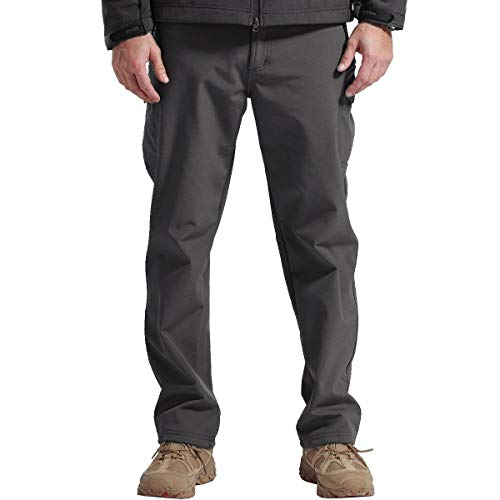 FREE SOLDIER Men's Outdoor Softshell Fleece Lined Cargo Pants Breathable Waterproof Windproof Tactical Warm Snow Ski Hiking Pants (Gray 32W/30L)