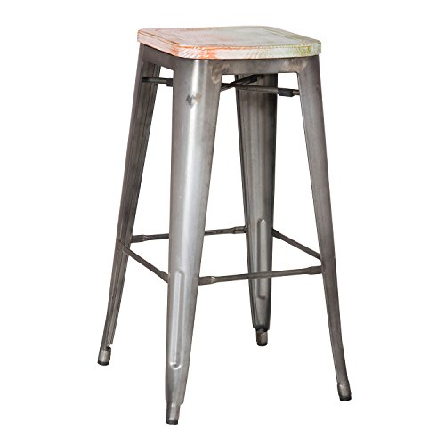 new 30inch metal counter bar stools vintage retro barstool distressed metal grey set of two