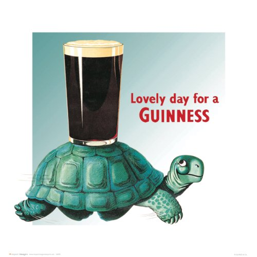 - Turtle Lovely Day for a Guinness Vintage Beer Alcohol Advertising Art Poster Print 16x16