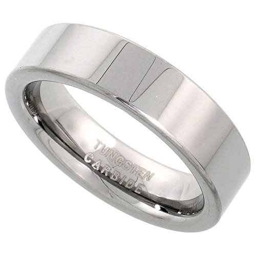 : Sabrina Silver Tungsten Carbide 6 mm Pipe Cut Wedding Band Ring for Men and Women Polished Comfort fit, Sizes 5-12