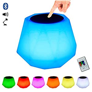 Diomand Portable Color Changing Speaker, RGB Bluetooth Speaker with light, LED Light up Speaker, Wireless Bluetooth Speaker, Bedside Lamp Night Light for Outdoor Indoor Party iPhone Remote Control