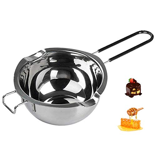 700ML Stainless Steel Double Boiler Pot with Heat Resistant Handle for Melting Chocolate, Candy and Candle Making, Large Capacity