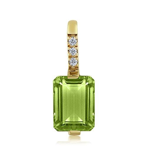 18K Yellow Gold 1.65 Ct Octagon Green Peridot and Diamond Pendant With ()