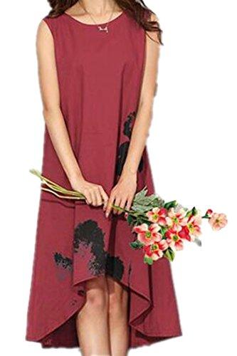 Femmes Cromoncent Grande Taille Ample Sans Manches Imprimé Lin Salut-bas Vin Rouge Robe Tunique