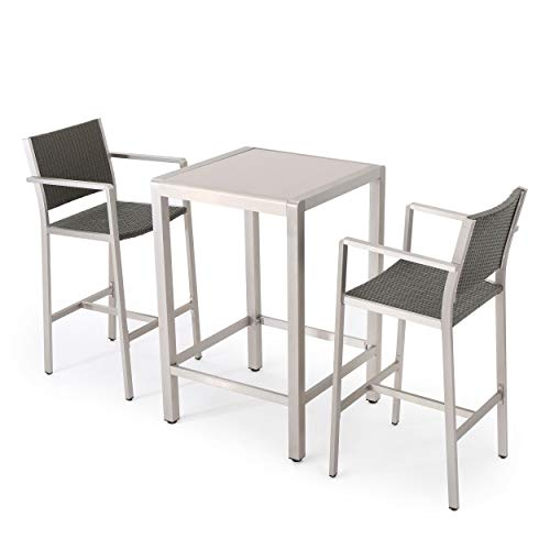 - Crested Bay Patio Furniture ~ 3 Piece Grey Outdoor Wicker and Aluminum Bar Set with Tempered Glass Top