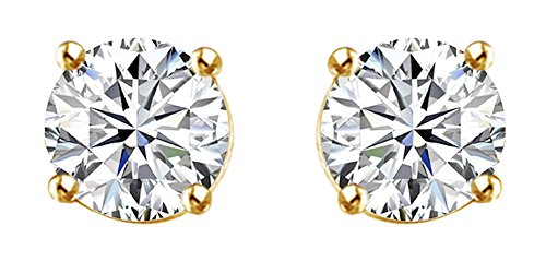1.87 Cttw Round Cut White Natural Diamond Solitaire Stud Earrings In 14K Solid Yellow Gold