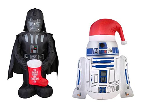star wars airblown inflatable christmas decorations lawn yard ornaments r2 d2 darth vader blowup 2pc - Star Wars Inflatable Christmas Decorations