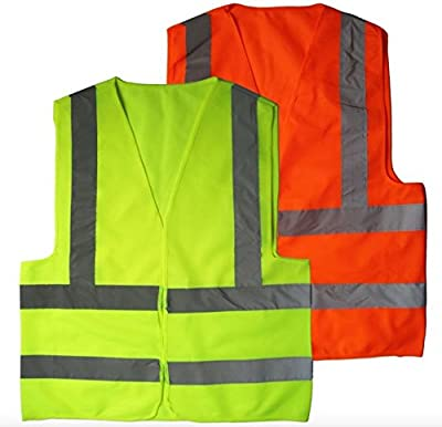 2 Pack High Visibility Reflective Vest By Big Beat Sports, Neon Yellow & Orange, Multi-functional Survival Credit Card Tool- Meets Outside Sports Such as Running, Cycling, Walking and Hiking. from Big Beat Sports