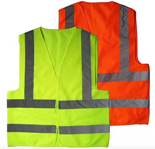 2 Pack High Visibility Reflective Vest By Big Beat Sports, Neon Yellow & Orange, Multi functional Survival Credit Card Tool Meets Outside Sports Such as Running, Cycling, Walking and Hiking.