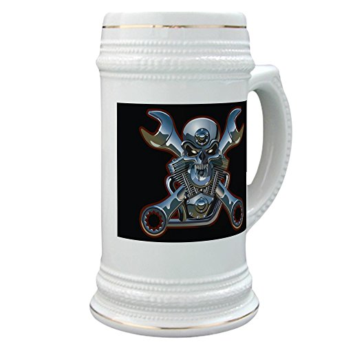 Stein (Glass Drink Mug Cup) Motorhead Skull Wrenches Gearhead