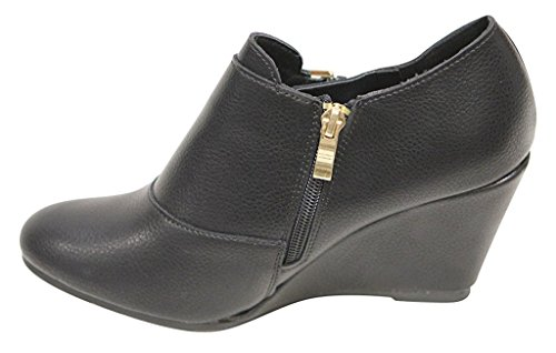 Women's Buckle Heel Bootie Bella Wedge Ziper New DEV Strap Marie Almond Toe Quilted Black Shoes Side Ankle d014qF