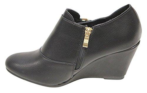 Débardeur Femme Bella Marie Orteil Boucle Sangle Côté Ziper Matelassé Talon Cheville Bottine Chaussures Noir