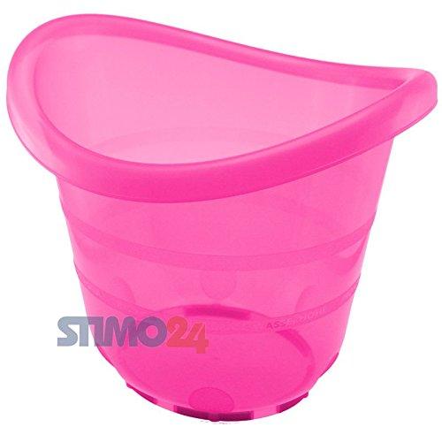 Baby Badeeimer Badewanne Babybadewanne 38 x 34 x 33 cm mit Gummifüßen in verschiedenen Farben (Pink)