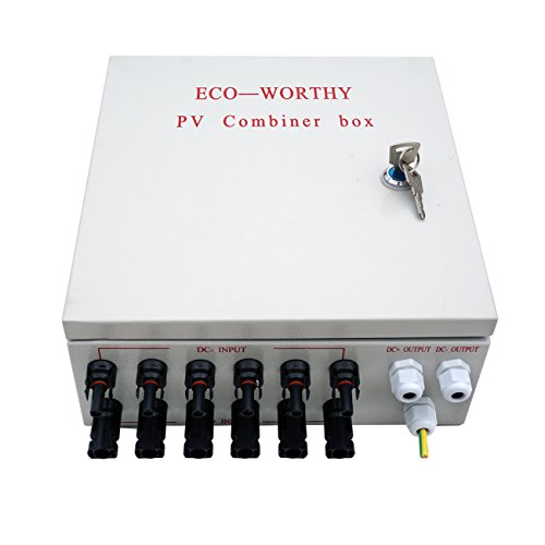ECO-WORTHY 6 String PV Combiner Joint Box & 10A Circuit Breakers for Solar (Solar Combiner Box)