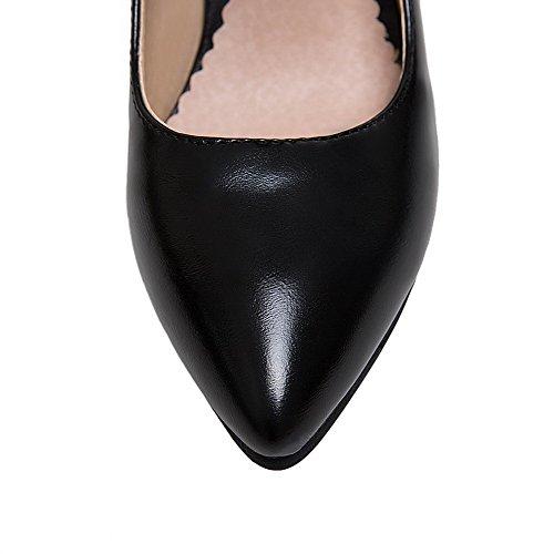 Solidi Round Donne Di Delle Tacchi toe Elaborazione shoes Weipoot Alti Dell'unità Nero Fibbia Pompe wxTIznqqp8