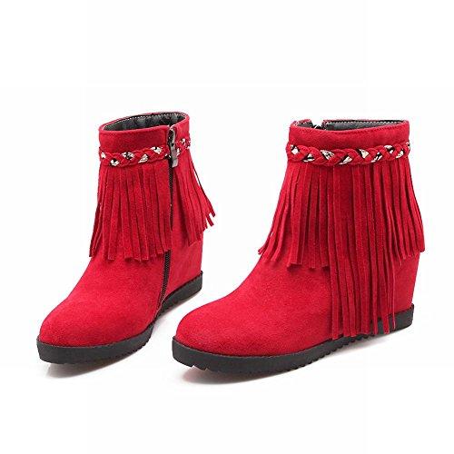 Carolbar Womens Zipper Nappe Treccia Moda Charms Cuneo Tallone Nascosto Stivaletti Caviglia Rosso