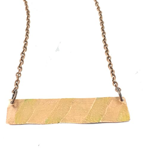 Embossed Bar - Embossed Copper Bar Necklace