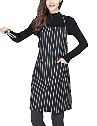 Unisex Black/White Pinstripe Apron Restaurant Kitchen Cooking Chef Waiter Waitress Aprons for Men Women Girls