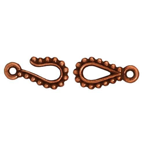 - TierraCast Clasp Beaded Hook/Eye,14.75mm, Antiqued Copper Plated Pewter, 4-Pack