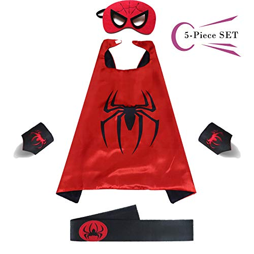 Superhero Dress Capes Set for Kids - Child DIY Superhero Themed Birthday Halloween Party Dress up 5-Pack Set -