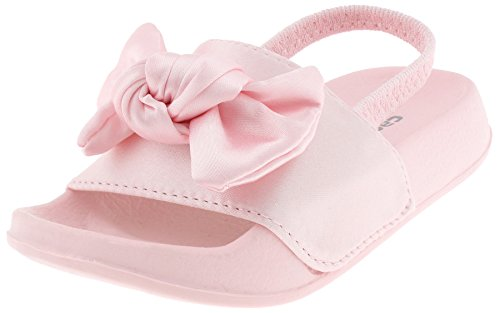 Capelli New York Toddler Girls Satin Slide with Oversized Bow Trim and Elastic Backstrap Light Pink 6/7 New York Satin Bow