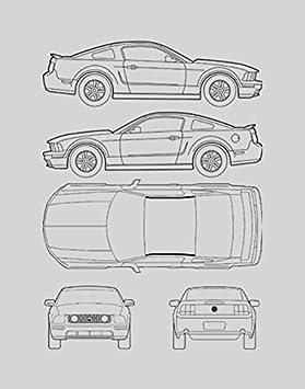 Amazon.com: Ford Mustang Blueprint Framed Car Art Gift   Choose Your Model,  11x14: Posters U0026 Prints