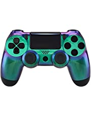 eXtremeRate Chameleon Purple Green Glossy Front Housing Shell for PS4 Slim Pro Controller, Custom Accessories Faceplate for Playstation 4 Controller CUH-ZCT2 JDM-040/050/055 - Controller NOT Included