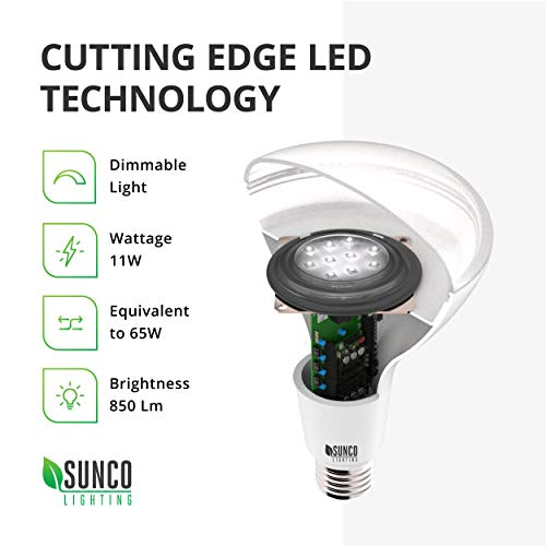 Sunco Lighting 32 Pack BR30 LED Bulb 11W=65W, 5000K Daylight, 850 LM, E26 Base, Dimmable, Indoor/Outdoor Flood Light - UL & Energy Star by Sunco Lighting (Image #3)