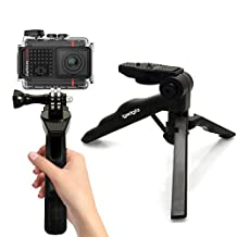 iGadgitz 2 in 1 Pistol Grip Stabilizer and Mini Lightweight Table Top Stand Tripod + Adaptor Mount / Thumb Screw & Nut for Garmin Virb Action Cams HD, Ultra 30, X, XE