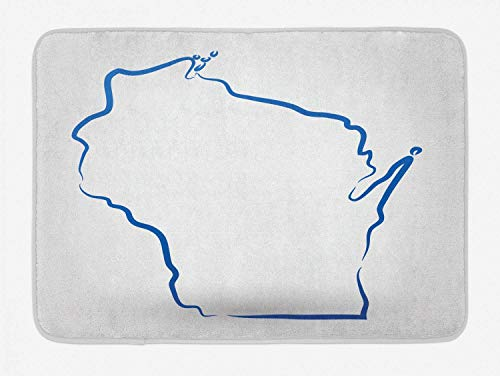 KeepSports Wisconsin Bath Mat, Simplistic Monochrome Outline Stylized Badger State Map on Plain Backdrop, Plush Bathroom Decor Mat with Non Slip Backing, 15.7 W X 23.6 L Inches, Cobalt Blue White