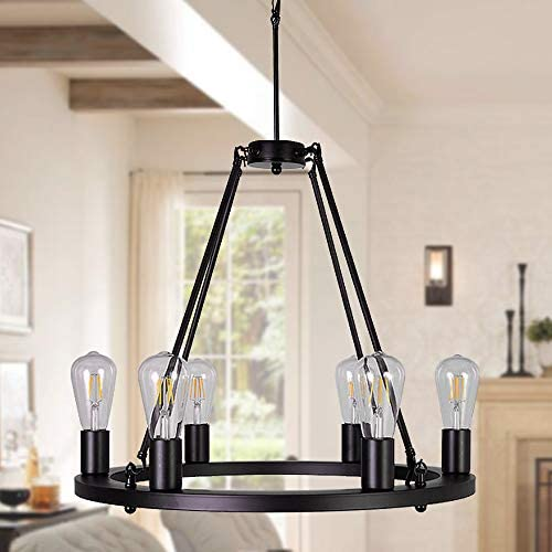 OSAIRUOS Wagon Wheel Vintage 6 Lights Kitchen Island Rustic Pendant Chandelier Farmhouse Rod Iron Chandeliers Ceiling Light Fixture for Dining Living Room Cafe Hallways W22 Bulbs Included
