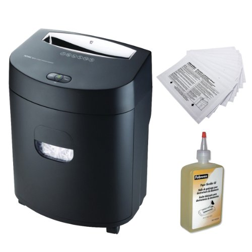 Royal 120X 12-Sheet Cross Cut Shredder with Fellowes 12 oz. Bottle Shredder Lubricant Oil and 12-Pack White Shredder Lubricant Sheets