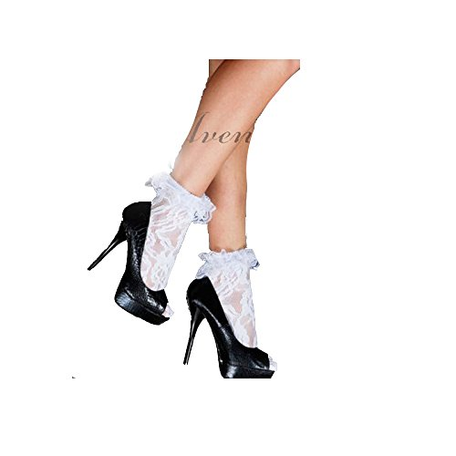 - LA3030 (White) All Lace Anklet with Ruffle