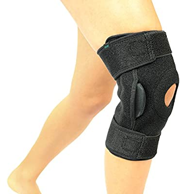 VIVE Hinged Knee Brace by Adjustable Open Patella Support for Swollen ACL, Tendon, Ligament and Meniscus Injuries - Athletic Compression Wrap for Running Wrestling and Arthritic Joint Problems