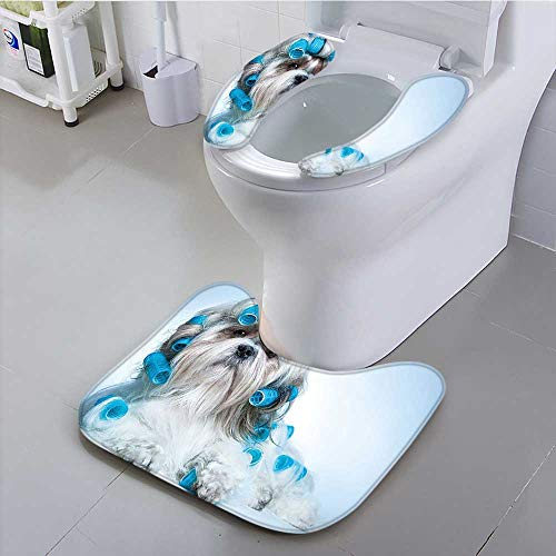 Philiphome Toilet seat Cover Decor Collection Shih Tzu Dog with Curlers Grooming Hairstyle Salon Front View Closeup Soft Non-Slip Water -
