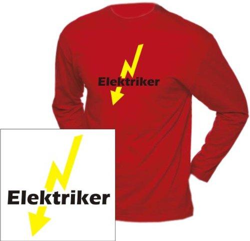 Langarm T-Shirt mit Druck ELEKTRIKER (Farbe rot) (Größe XL)