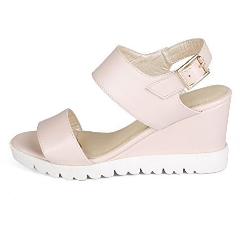 AgooLar Women's Buckle High Heels Pu Solid Open Toe Sandals Pink seFvYawT