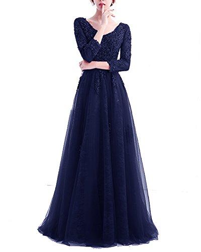 Navyblau Ärmeln Glitzer Abendkleider Tüll mit Spitze Hochzeit Lang für Rückenfrei Damen Elegant LuckyShe Ballkleid Strasssteine xHcnWB6A