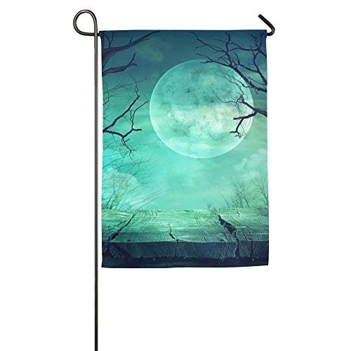 Hexu Halloween Background Spooky Forest With Full Moon And Wooden Table Family Garden House Home Demonstration Game Flag 1218inch ()