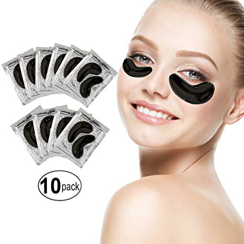 Set of 10 Pairs Gold Black Volcanic Soil Collagen Gel Crystal Masks Mud Eyes Patches Pads for Crows Feet, Dark Circles and Puffiness Removal, Hydration, Pores Cleansing, Skin Firming and Nourishing (Volcanic Mask Cleansing Deep Mud)