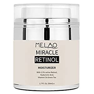 Retinol Moisturizer Cream - Premium Face Cream with 2.5% Active Retinol, Hyaluronic Acid, Vitamin E - Anti Aging Formula Reduces Wrinkles and Fine Lines(1.7Oz)