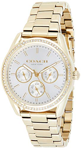 Coach Women's Silver White Dial Ionic Thin Gold Plated 1 Steel Watch - 14503266