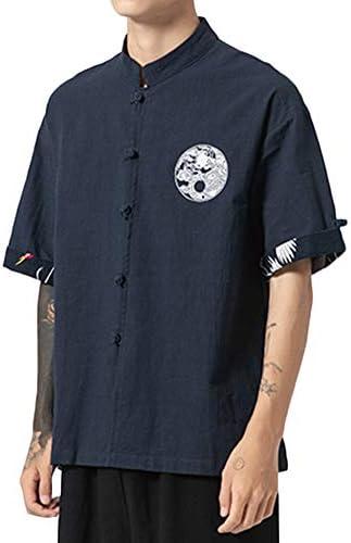 ZhuiKunA Hombres Camisa Japonés Cardigan Yukata Estilo Kimono con Impresos Vintage Holgado Casual Marina de Guerra 3XL: Amazon.es: Ropa y accesorios