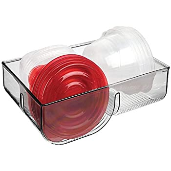 mDesign Food Storage Container Lid Holder, 3-Compartment Plastic Organizer Bin for Organization in Kitchen Cabinets, Cupboards, Pantry Shelves - Smoke Gray