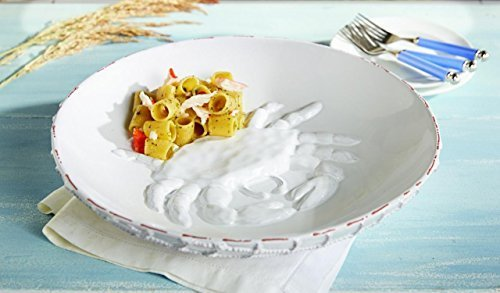 Christmas Tablescape Décor - Mud Pie white terracotta milk glazed pasta bowl with dimensional crab inside bowl and dimensional netting on outside of bowl