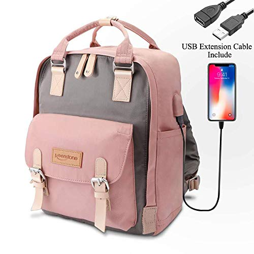 Keenstone Rucksack Satchel Backpack for Women,Laptop Backpacks, Travel Computer Backpacks with USB Charging Port for Women, Water Resistant College School Bookbag Fits 14 Inch Laptop and Notebook (Best Backpack For Shoulder Pain)