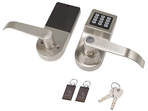 Electronic Door Locks Keyless Digital Push Button Keypad Security Entry Lockset with Reversible Handle, Unlock with M1 Card, Code and Key, Satin Nickel