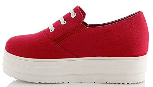Heel Red Flat Platform Round IDIFU Toe Mid Comfy Sneakers Heighten Canvas Womens Shoes Elastic XwqgOT