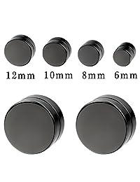 Aroncent 8pcs Black Circle Magnetic Clip On Non Piercing Stud Earrings for Men Women